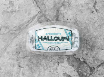 Aphrodite halloumi packet on grey tile