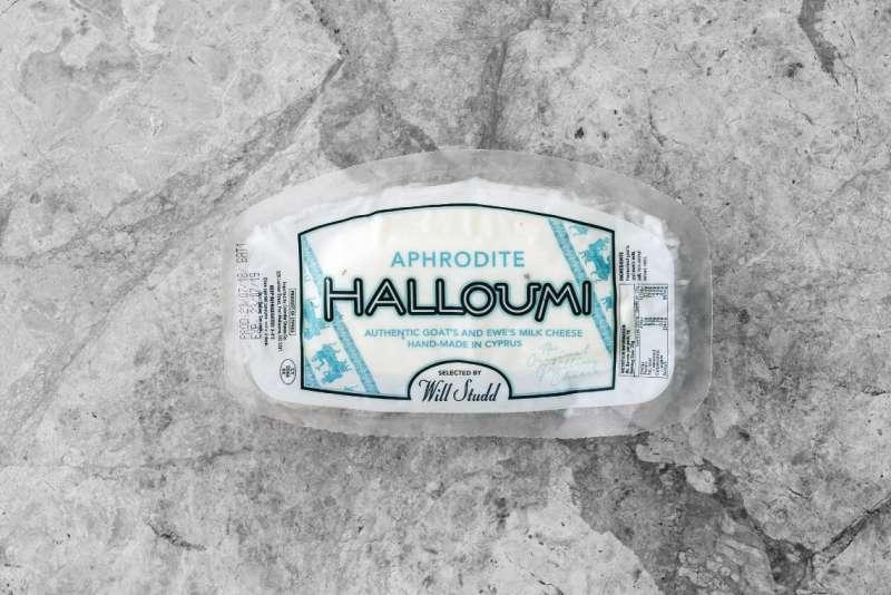 Aphrodite halloumi packet on grey tile
