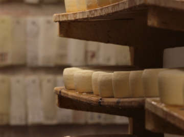 artisan cheese on wooden shelves