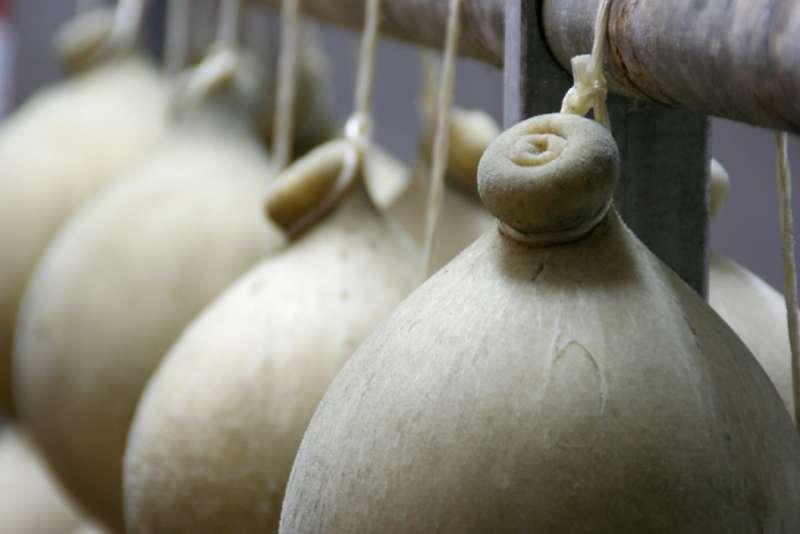 Cacio Cavallo cheese hanging up string