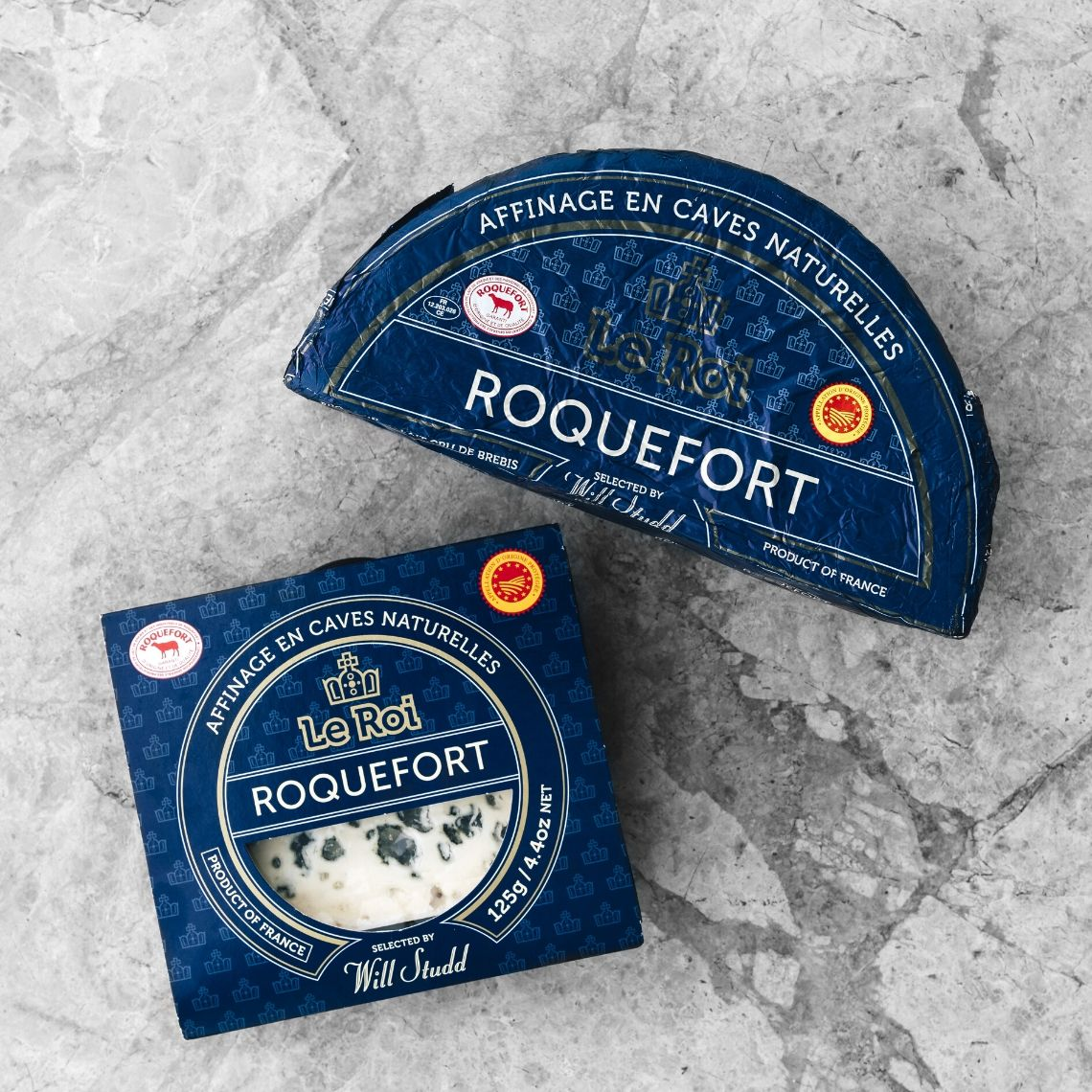 Le Roi roquefort packaging blue cheese French