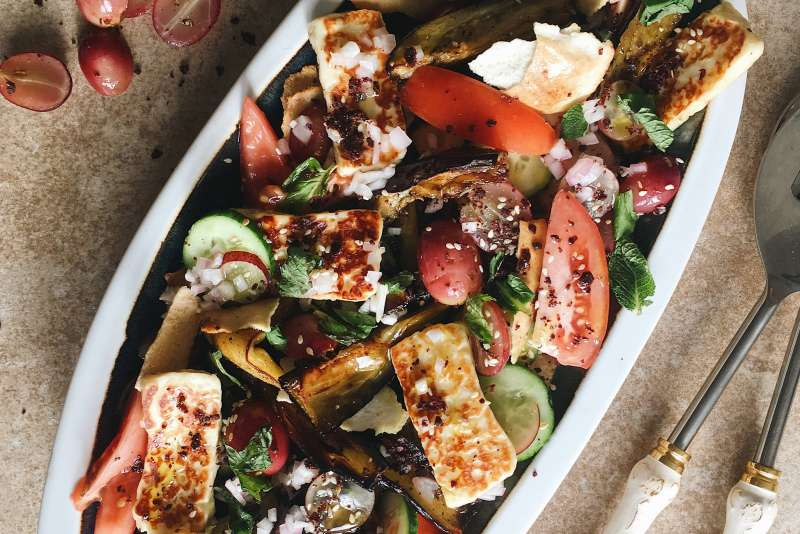 halloumi salad with fattoush