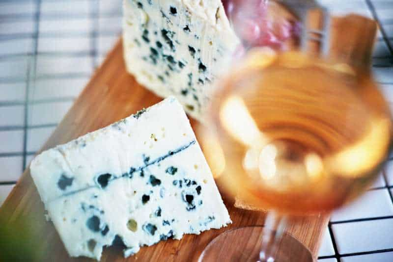 Christmas blue cheese and wine