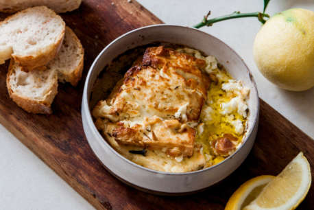 Aphrodite Marinated Feta Will Studd Baked in ceramic bowl