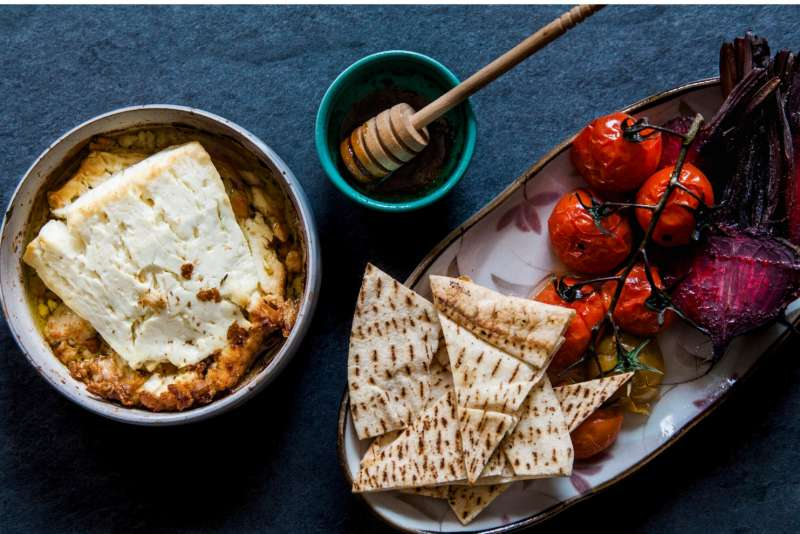 baked feta with pita bread and honey