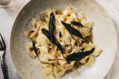 aphrodite galotyri pasta with sage leaves