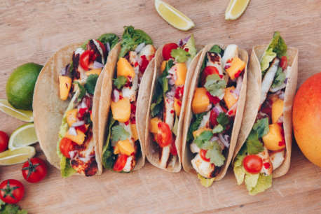 tacos with halloumi on board