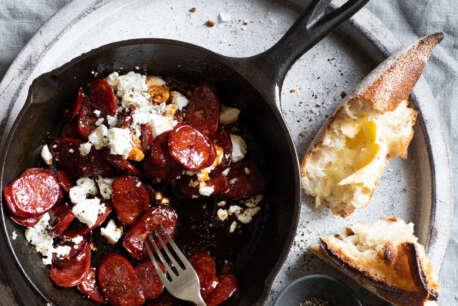 Aphrodite Feta Chorizo in fry pan