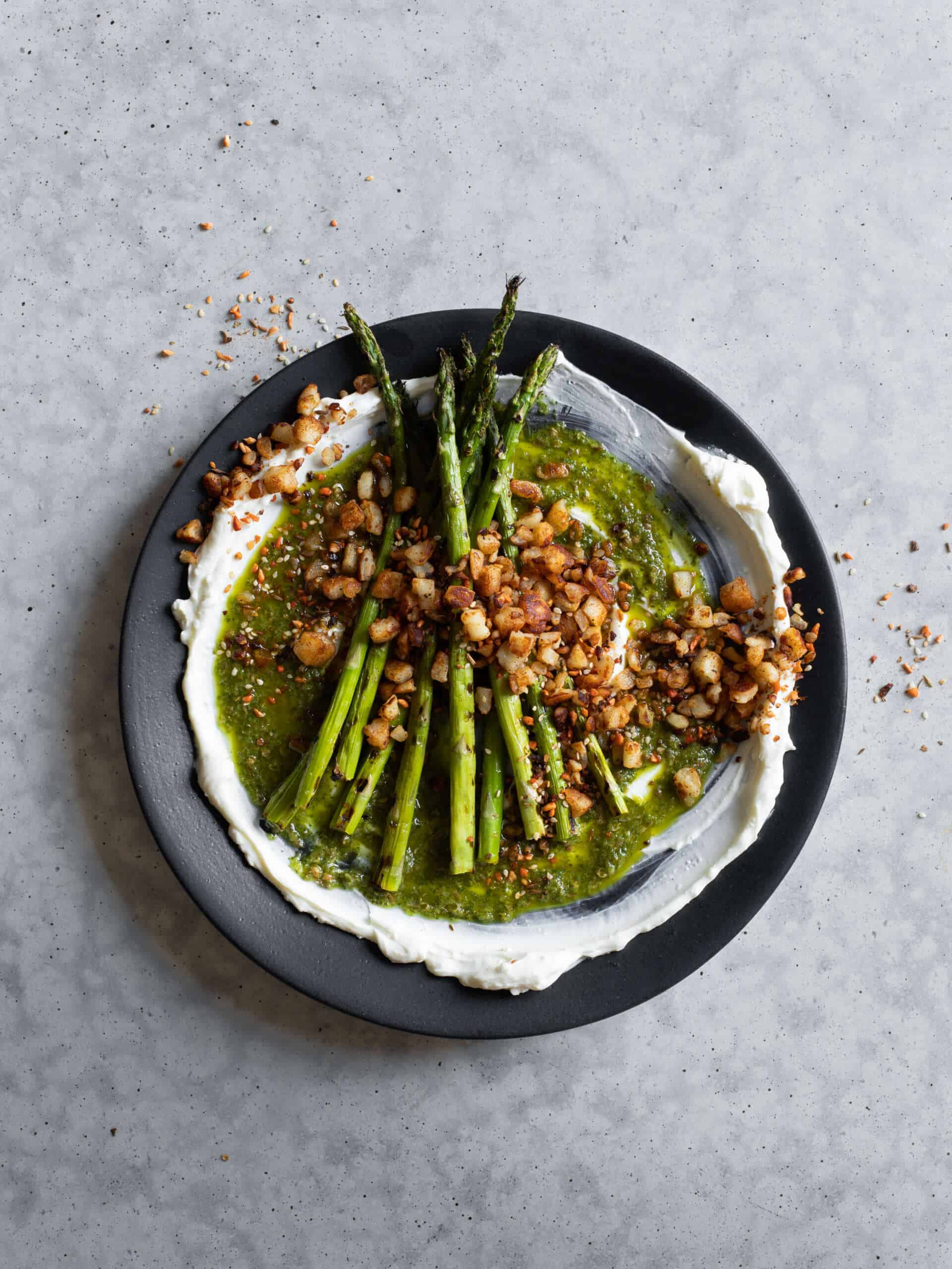 Studd Cheese Charred Asparagus, Galoytri And Halloumi Dukka