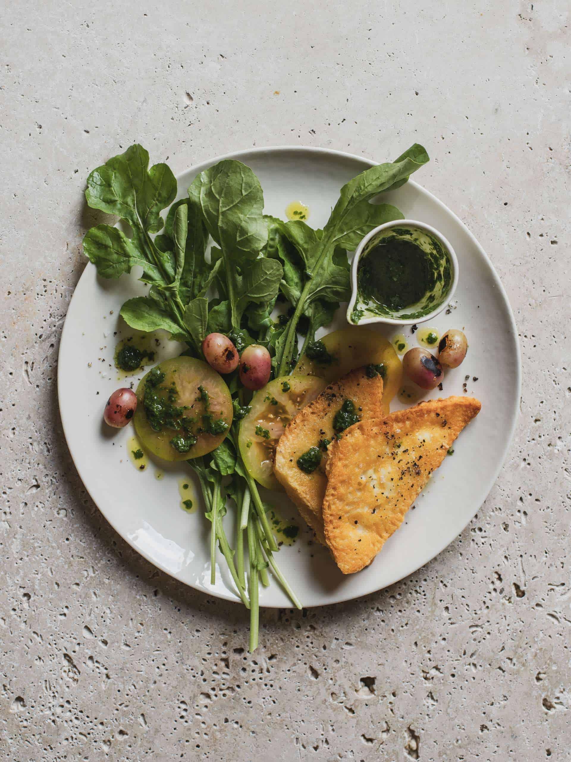 Saganaki Grape And Rocket Salad